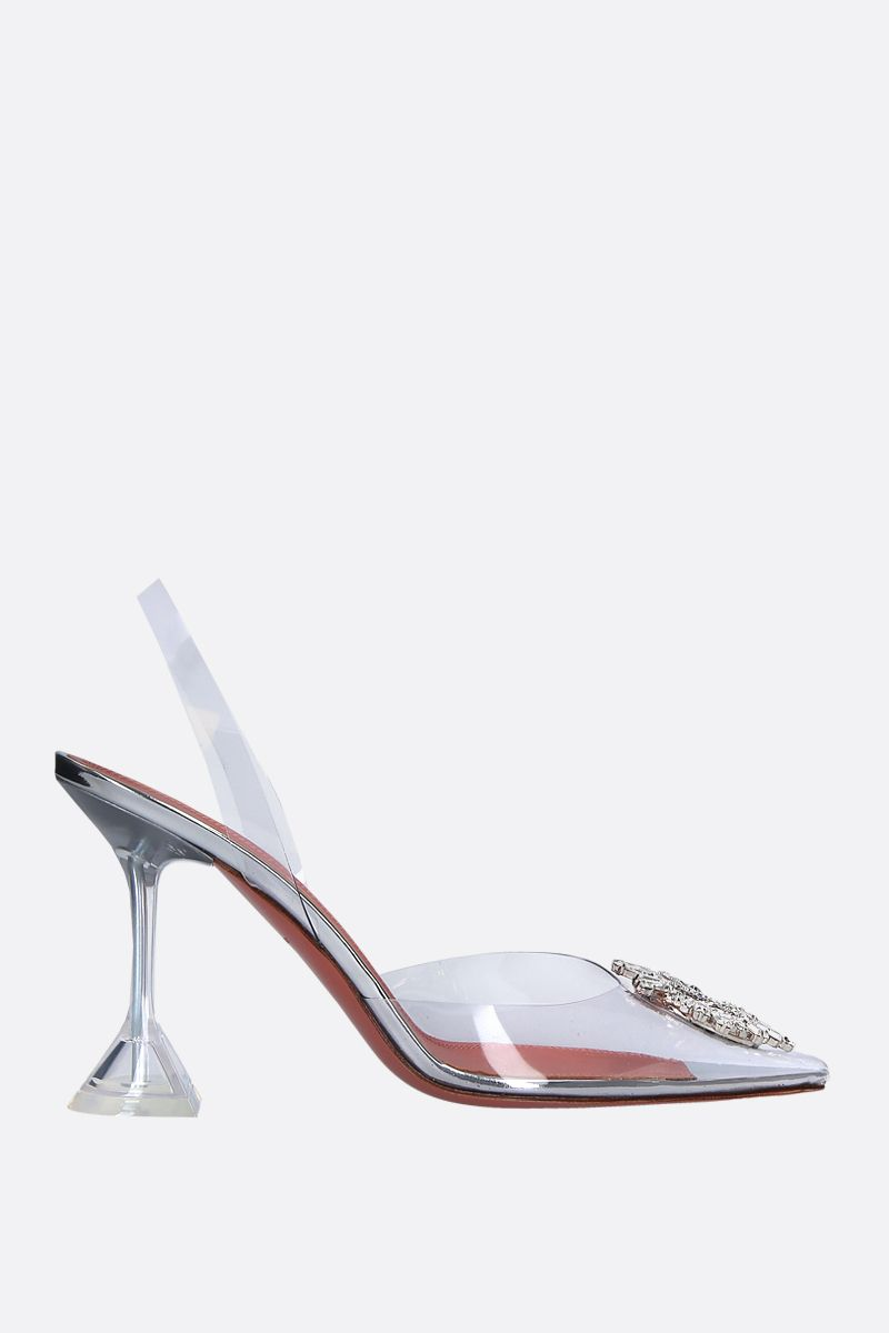 AMINA MUADDI: Begum slingbacks in clear vinyl Color Neutral_1