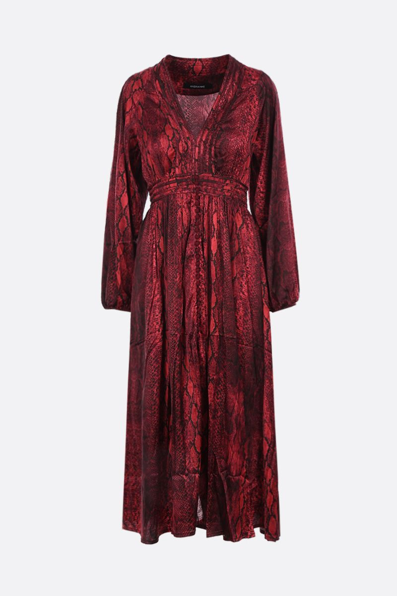 ANDAMANE: Brooklyn shirt dress in printed satin Color Red_1