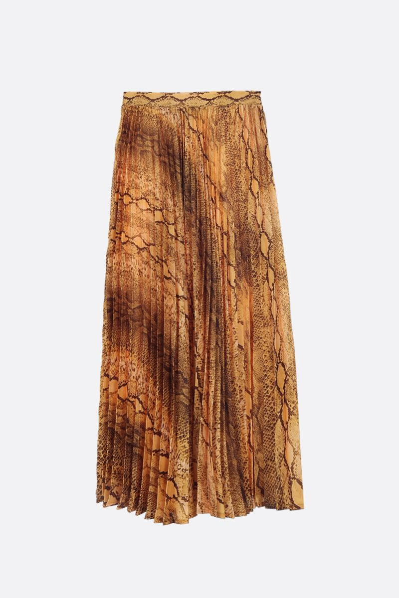 ANDAMANE: Becky pleated skirt in printed satin Color Yellow_1