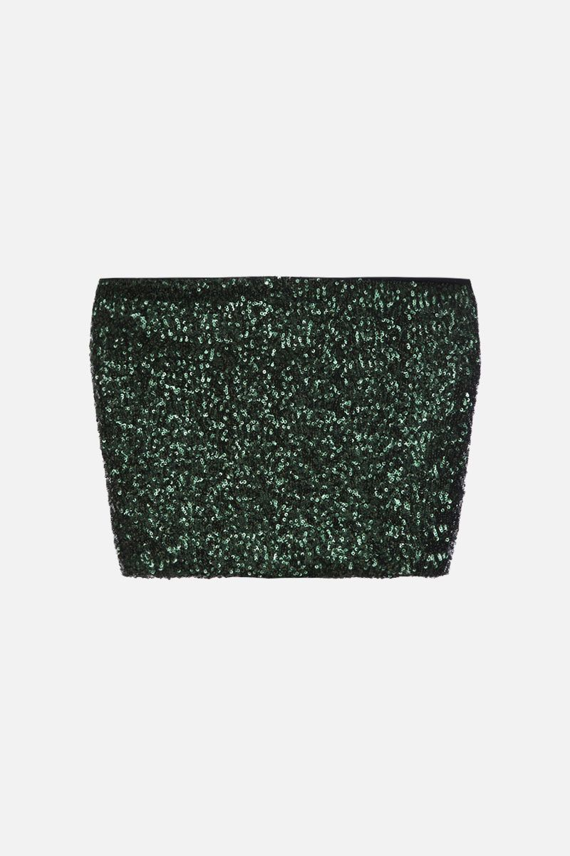 ANDAMANE: Britney sequinned crop top Color Green_2