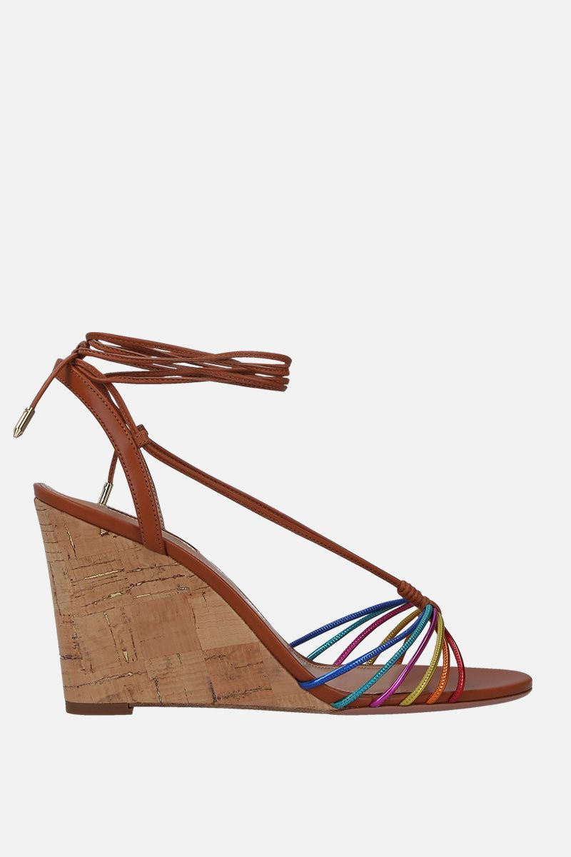 AQUAZZURA: sandalo con zeppa Whisper in pelle Colore Multicolore_1