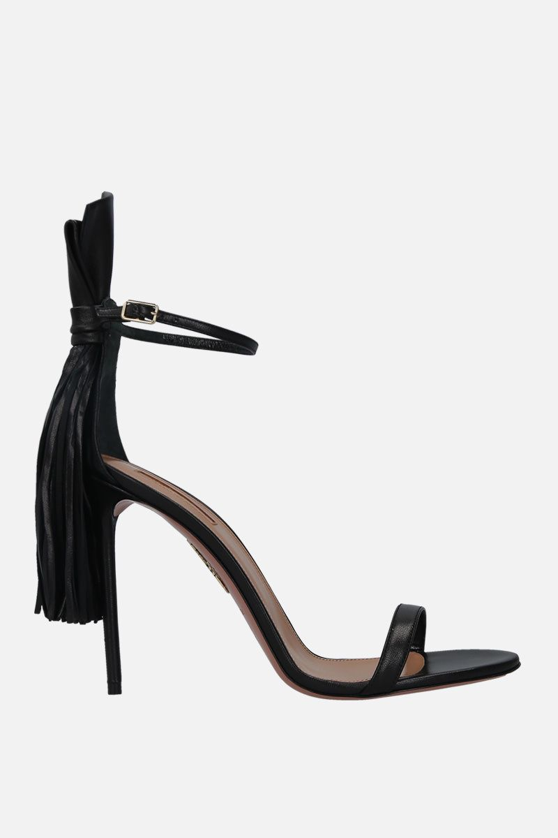 AQUAZZURA: sandalo Whip It in morbida nappa Colore Nero_1