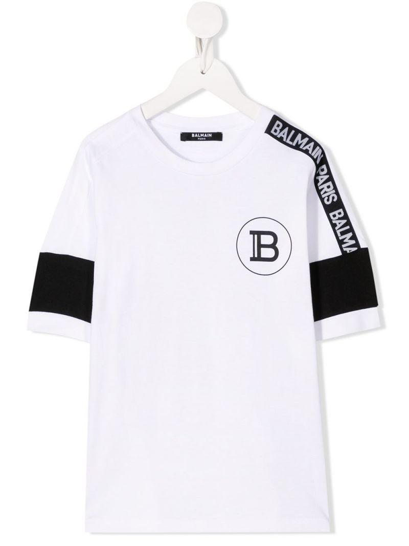 BALMAIN KIDS: logo band-detailed cotton t-shirt Color White_1