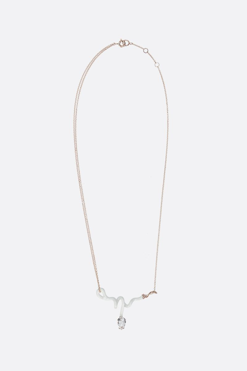 BEA BONGIASCA: Vine rose gold necklace Color White_1