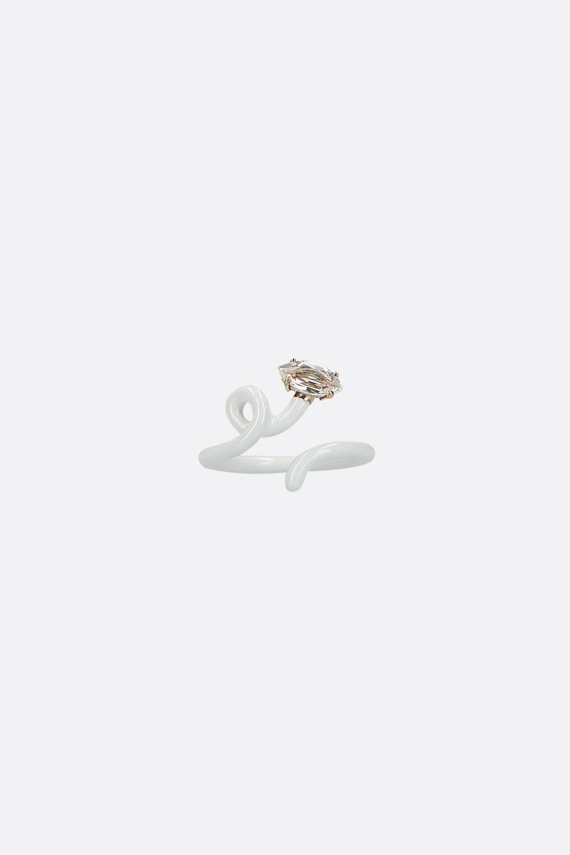 BEA BONGIASCA: Baby Vine enameled yellow gold tendril ring Color White_1