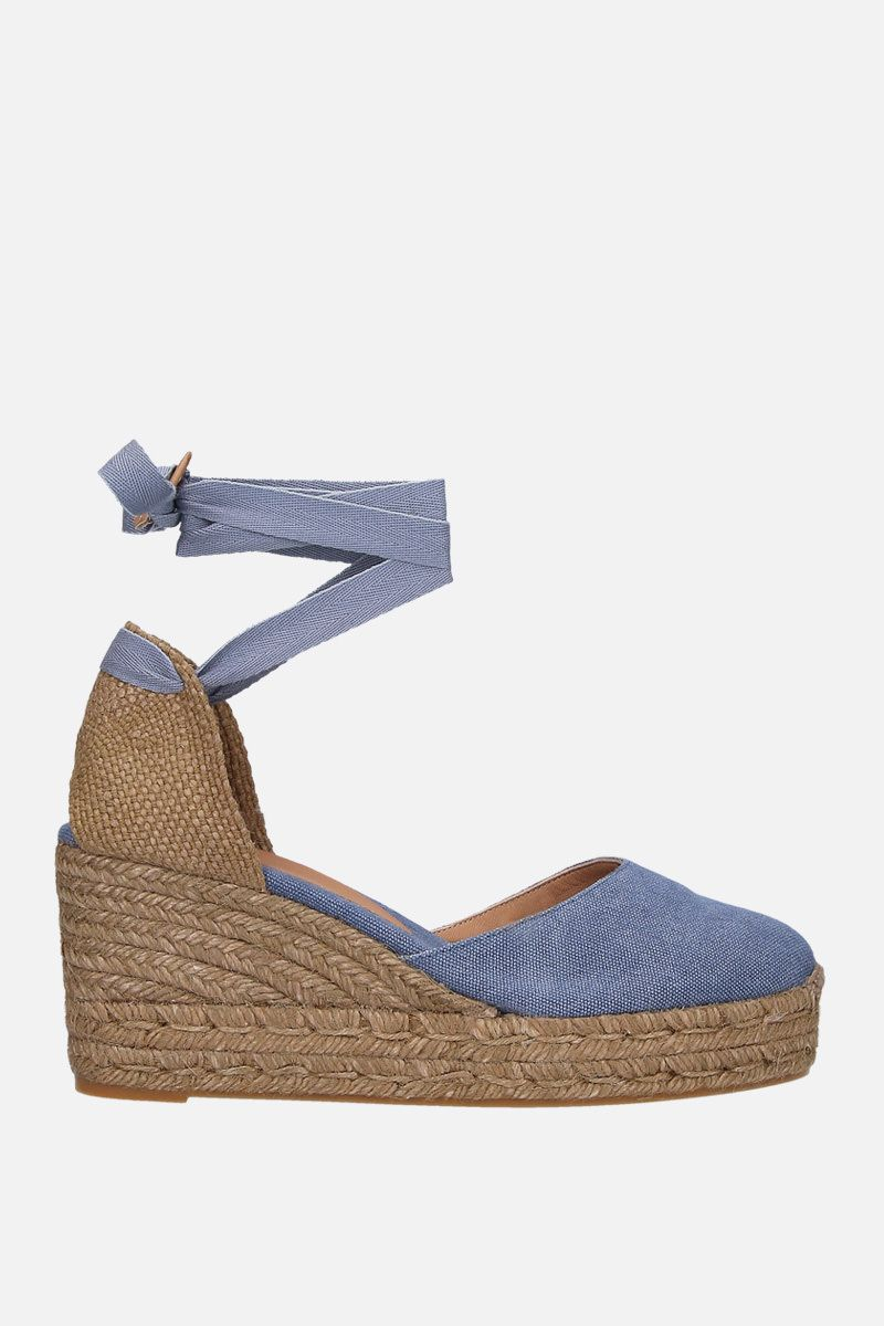 CASTANER: Carina wedge espadrilles in canvas and jute Color Blue_1
