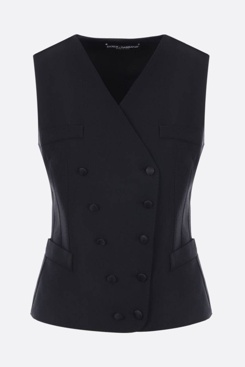 DOLCE & GABBANA: double-breasted waistcoat in technical gabardine Color Black_1