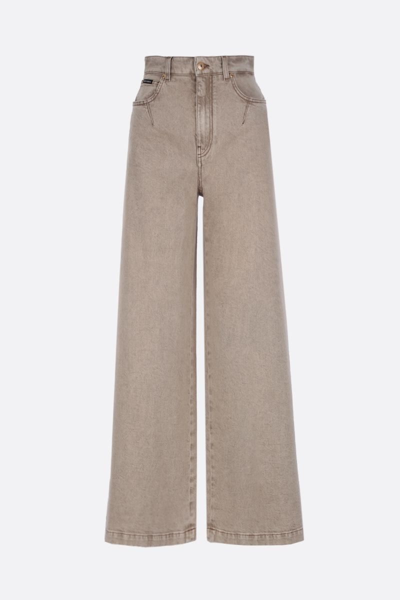 DOLCE & GABBANA: logo plate-detailed wide-leg jeans Color Neutral_1