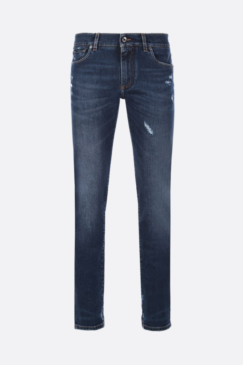 DOLCE & GABBANA: slim jeans with distressed effect Color Blue_1