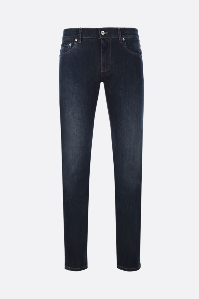 DOLCE & GABBANA: skinny jeans with logoed plate Color Blue_1