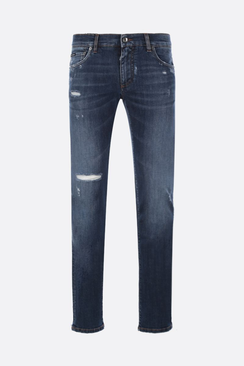 DOLCE & GABBANA: skinny jeans with distressed effect Color Blue_1