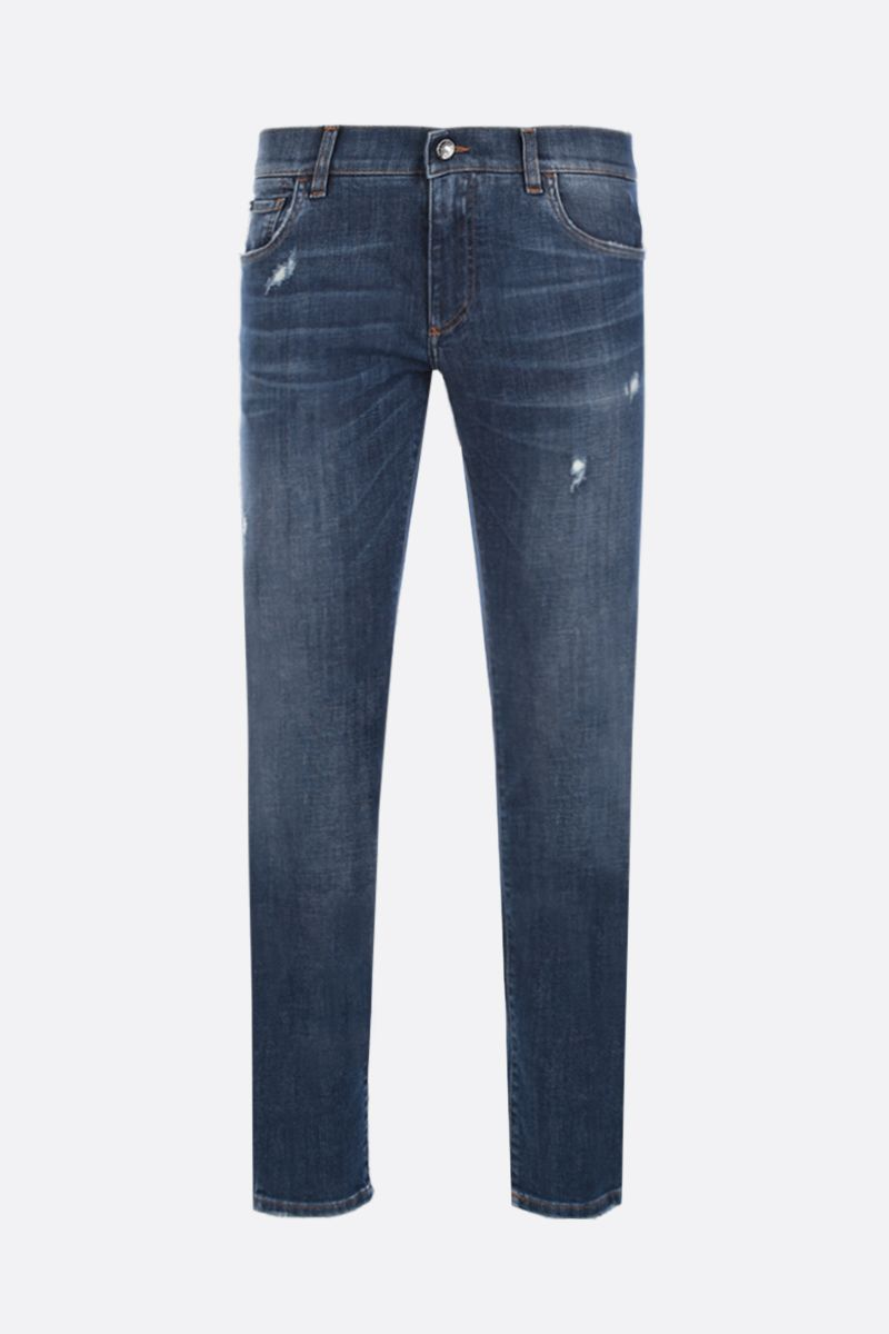 DOLCE & GABBANA: vintage patch-detailed skinny-fit jeans Color Blue_1