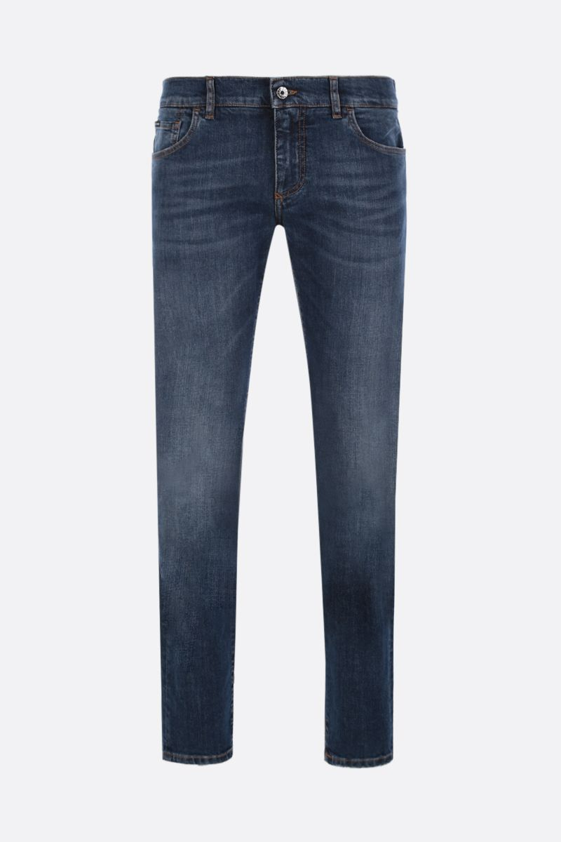 DOLCE & GABBANA: DG Crown-embroidered skinny-fit jeans Color Blue_1