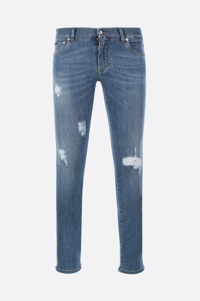 DOLCE & GABBANA: running-fit jeans with distressed effect Color Blue_1