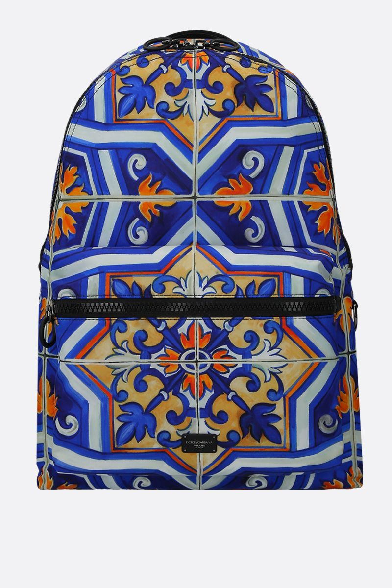 DOLCE & GABBANA: Vulcano backpack in maiolica -print nylon Color Multicolor_1