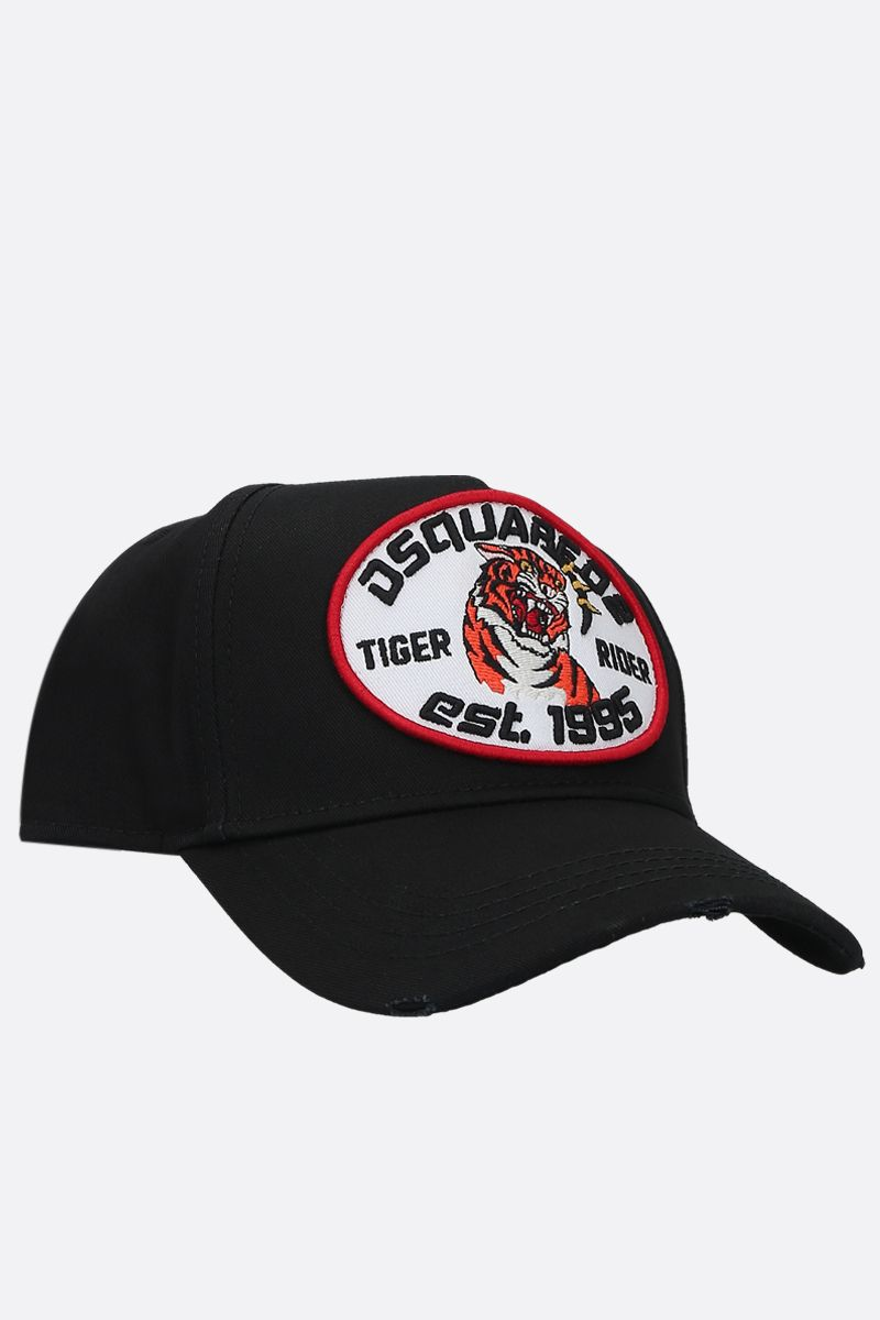 DSQUARED2: Tiger Rider patch canvas baseball cap Color Black_2