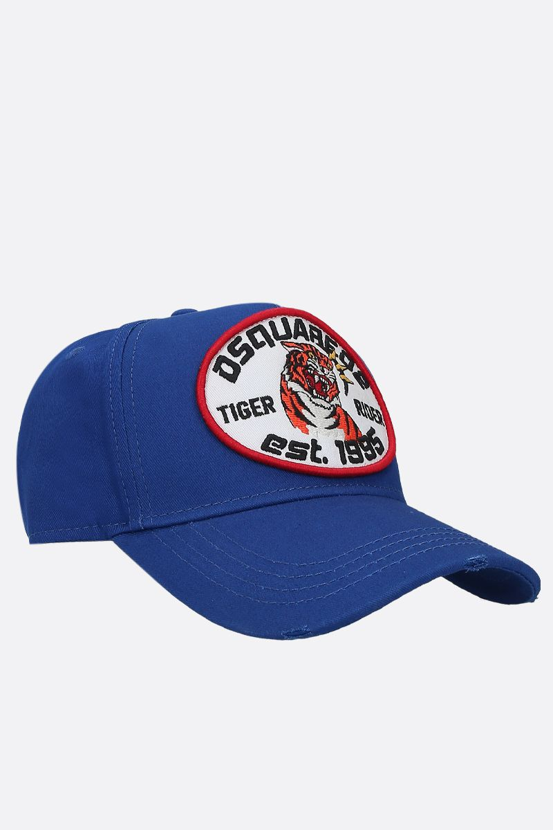 DSQUARED2: Tiger Rider patch canvas baseball cap Color Blue_2
