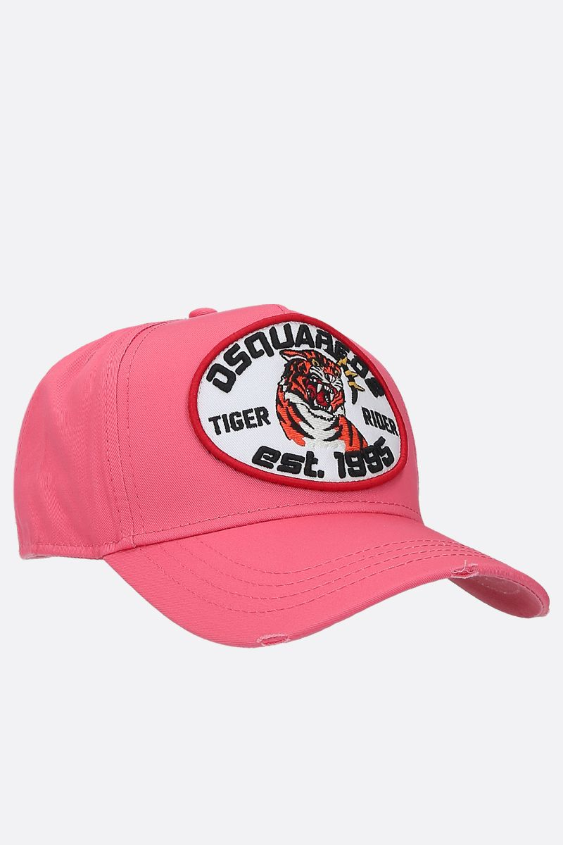 DSQUARED2: Tiger Rider patch canvas baseball cap Color Pink_2