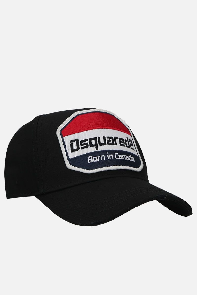 DSQUARED2: logo patch canvas baseball cap Color Black_2