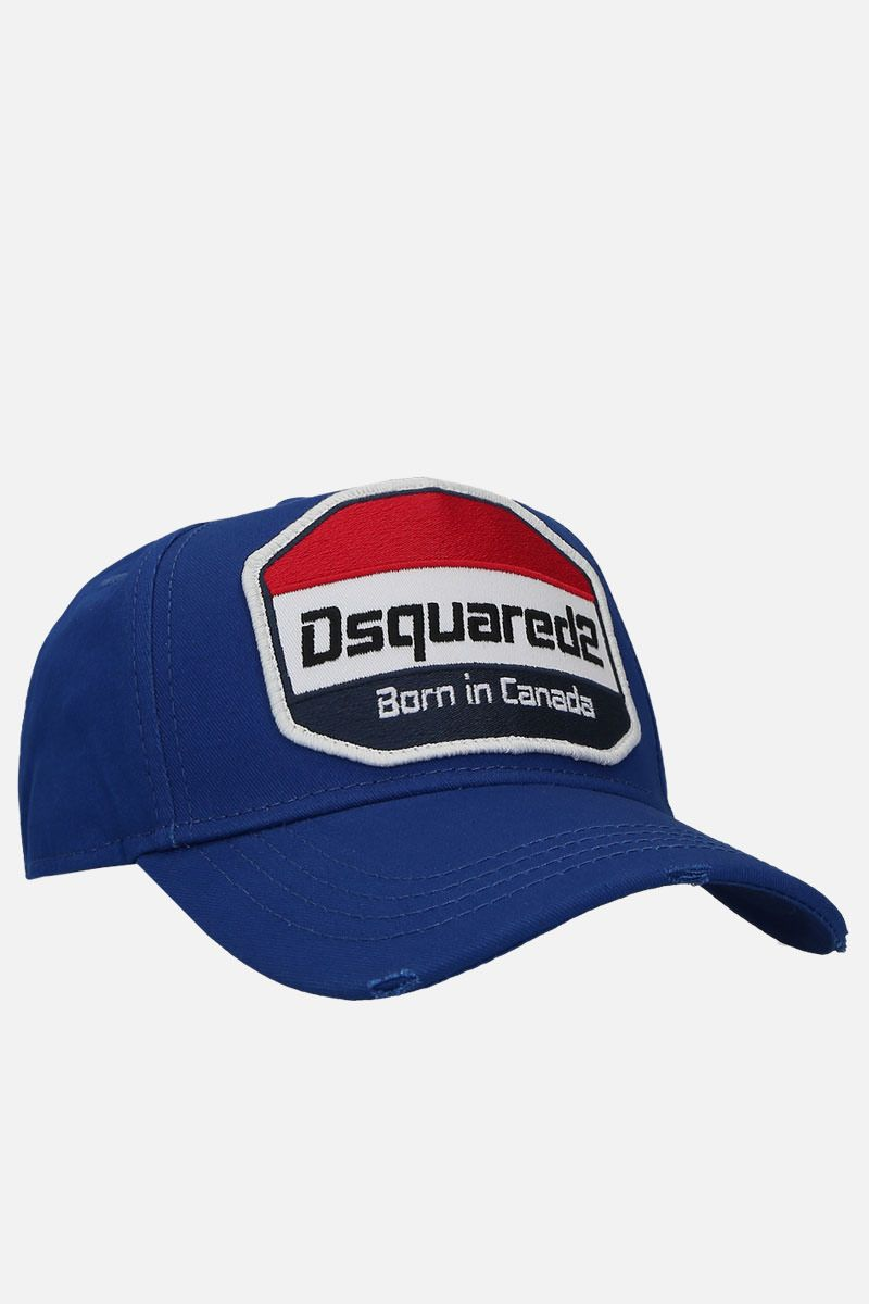 DSQUARED2: logo patch canvas baseball cap Color Blue_2