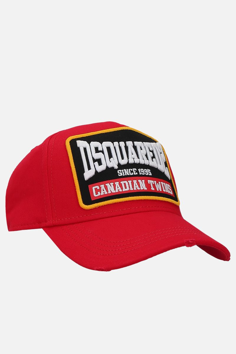 DSQUARED2: Canadian Twins patch canvas baseball cap Color Red_2