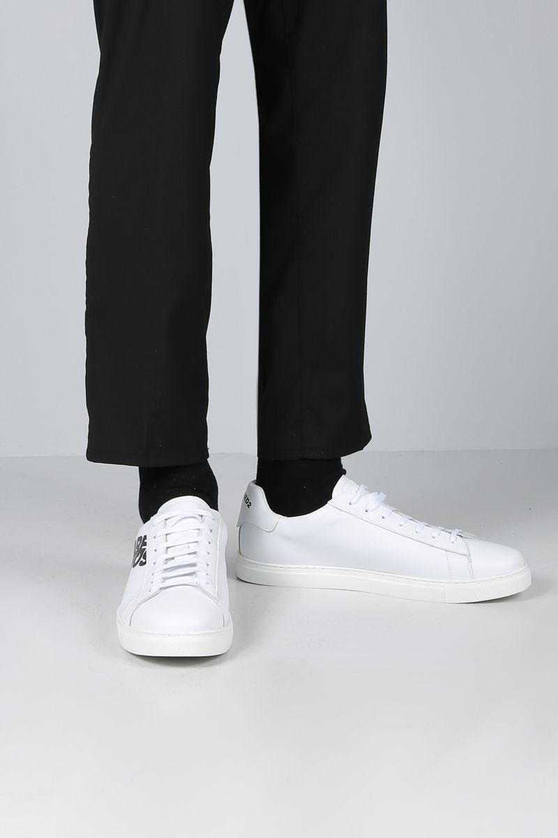 DSQUARED2: logo print smooth leather low-top sneakers Color White_2