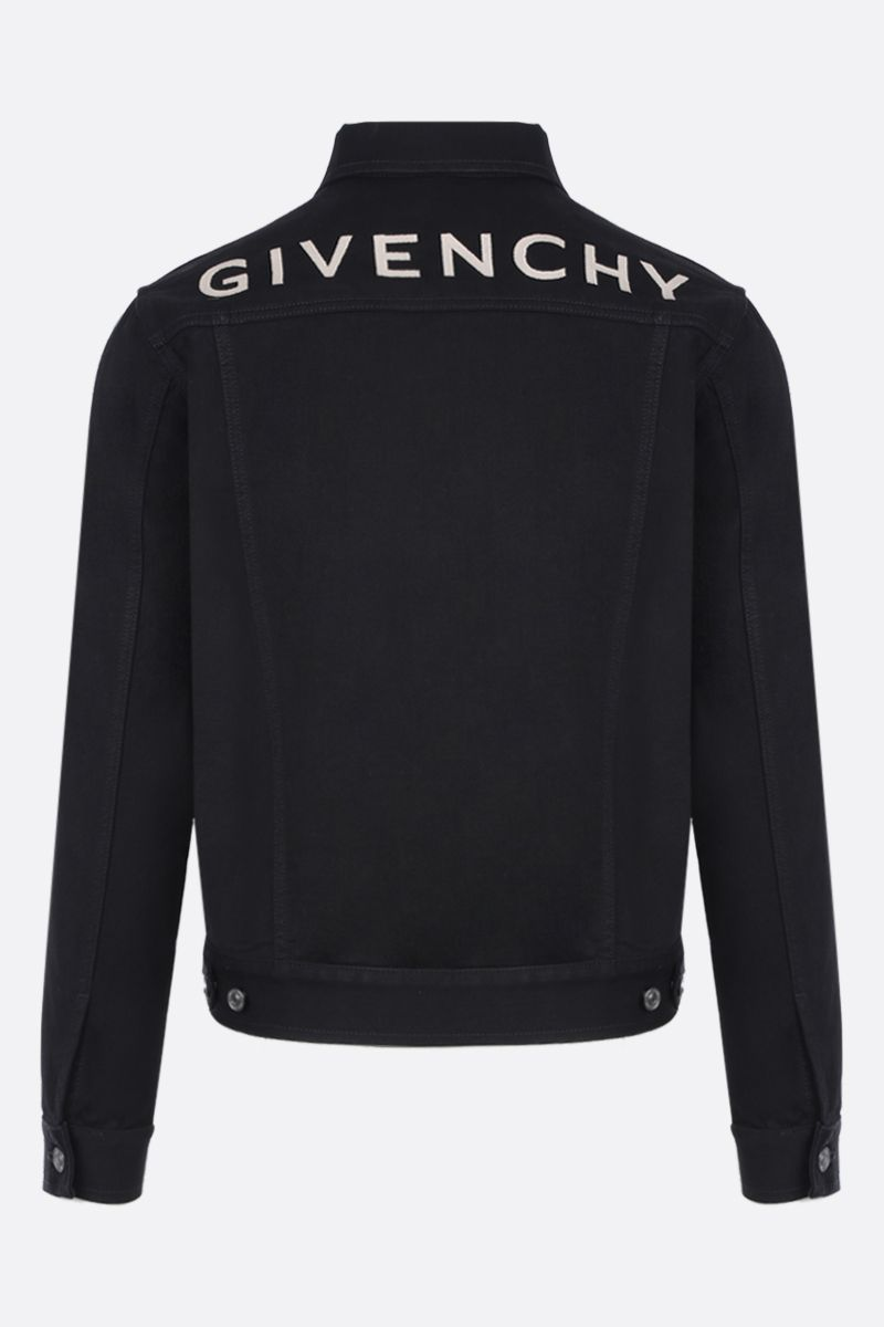 GIVENCHY: logo embroidered denim jacket Color Black_2
