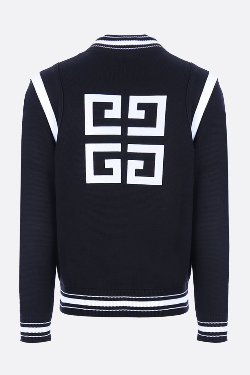 GIVENCHY: 4G embroidered wool knitted bomber jacket Color Black_2