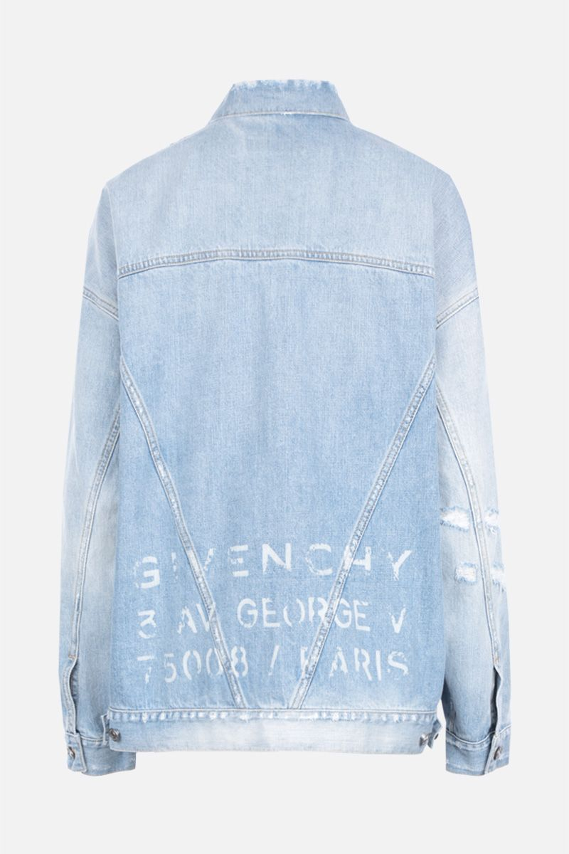 GIVENCHY: giacca oversize in denim stampa Givenchy Atelier Colore Blu_2