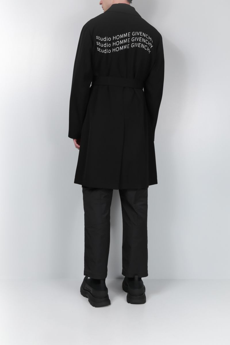 GIVENCHY: single-breasted overcoat in Studio Homme Givenchy printed wool Color Black_2