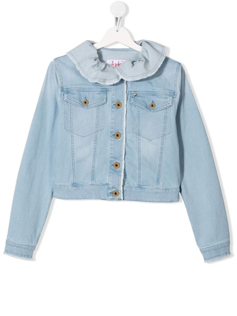 IL GUFO: ruffled collar-detailed stretch denim jacket Color Blue_1