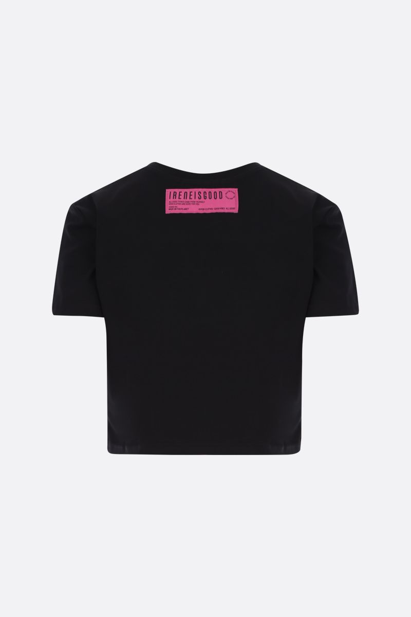 IRENEISGOOD: t-shirt cropped Ireneisgood in cotone stretch Colore Nero_2