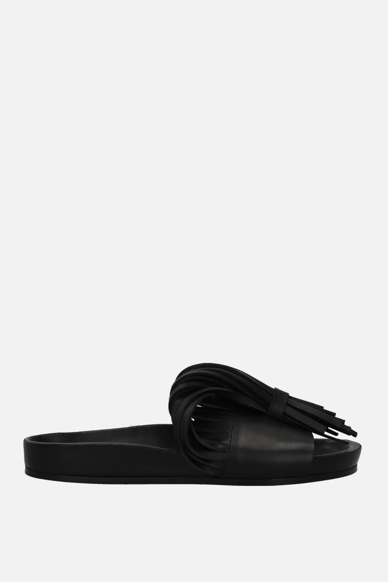 JIL SANDER: fringe-detailed leather slide sandals Color Black_1