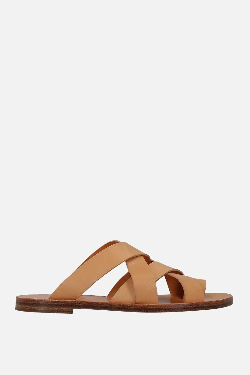 JIL SANDER: smooth leather thong sandals Color Brown_1
