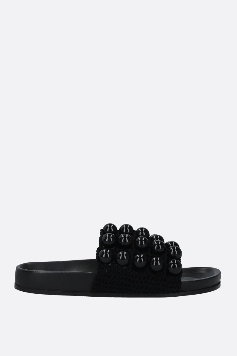 JIL SANDER: bead-embellished knit slide sandals Color Black_1