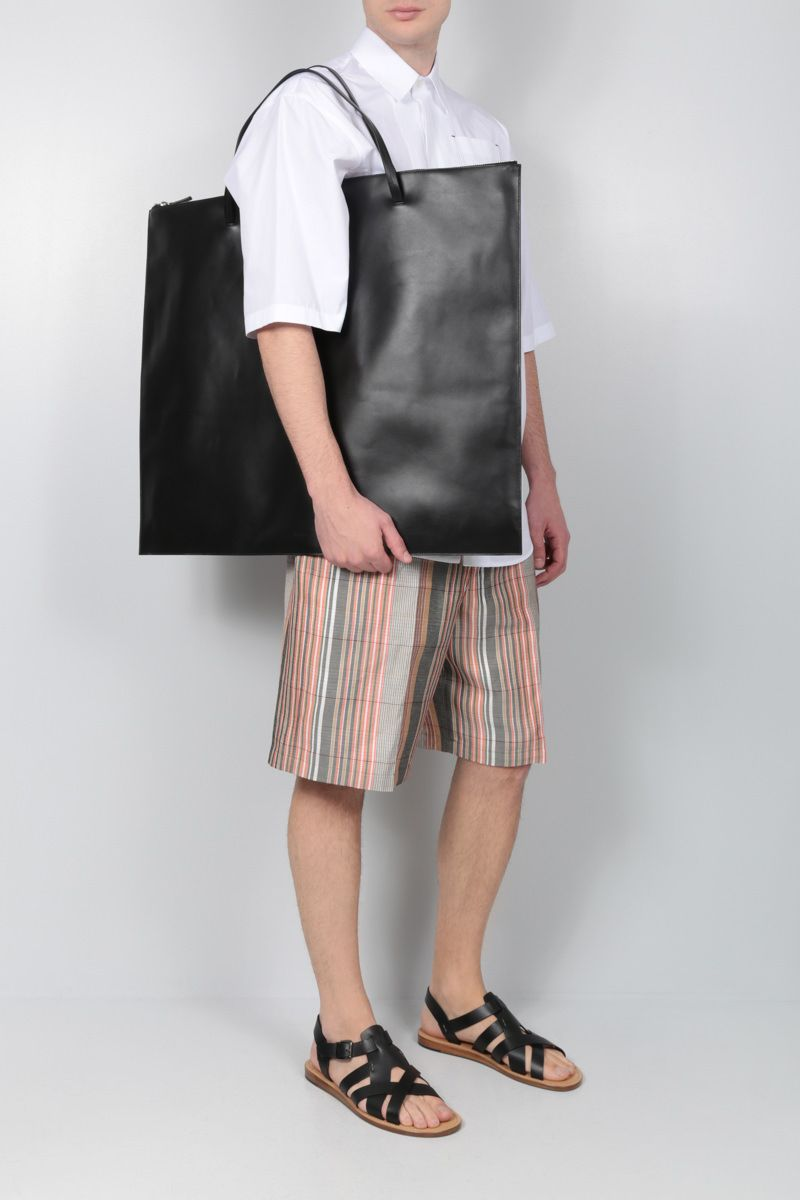 JIL SANDER: smooth leather flat tote bag Color Black_2
