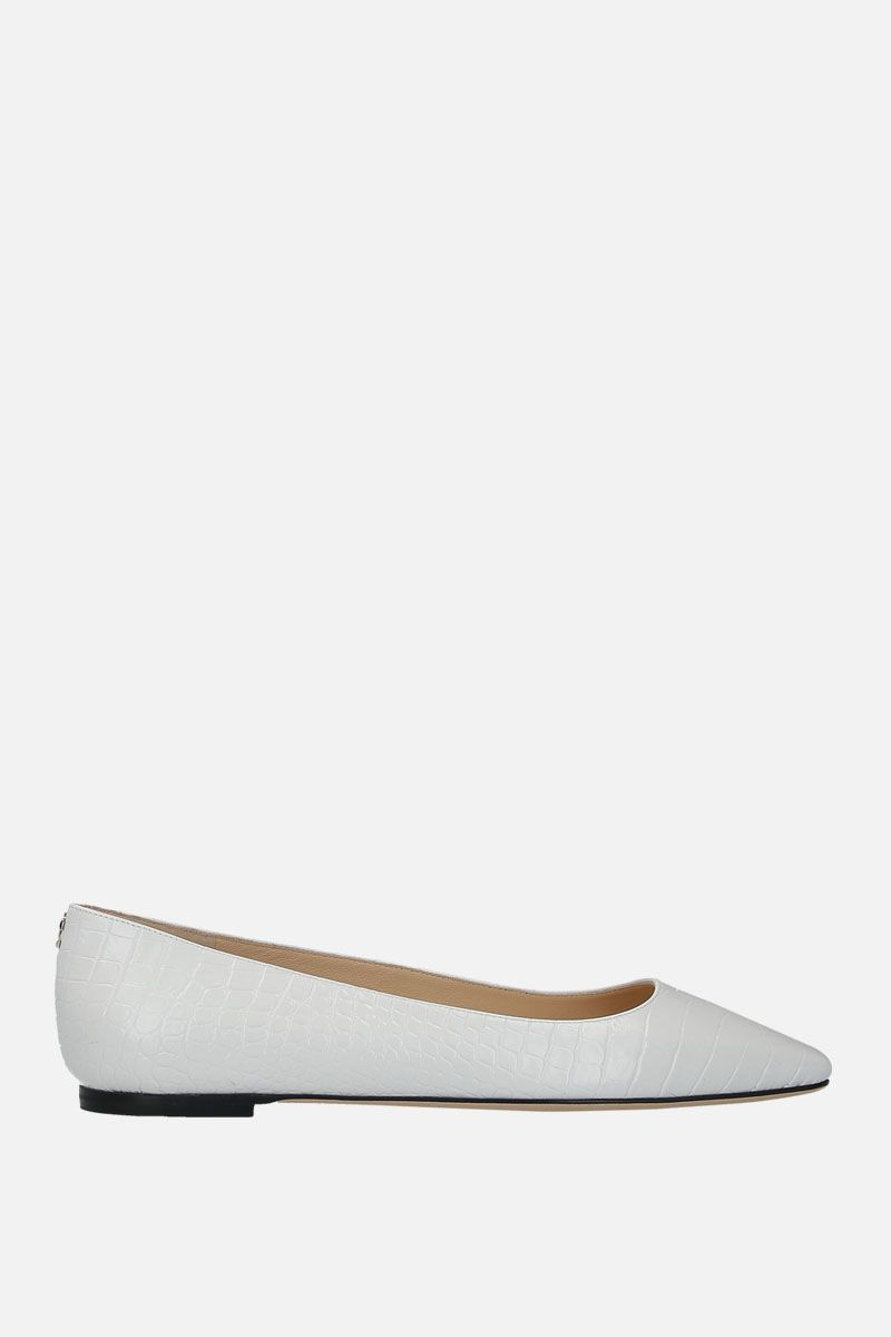 JIMMY CHOO: Mirele ballerinas in crocodile embossed leather Color White_1