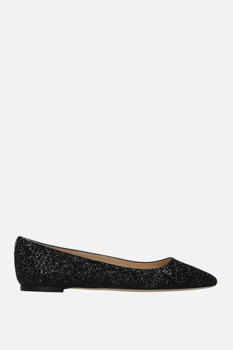 JIMMY CHOO: Mirele ballerinas in glitter fabric Color Black_1