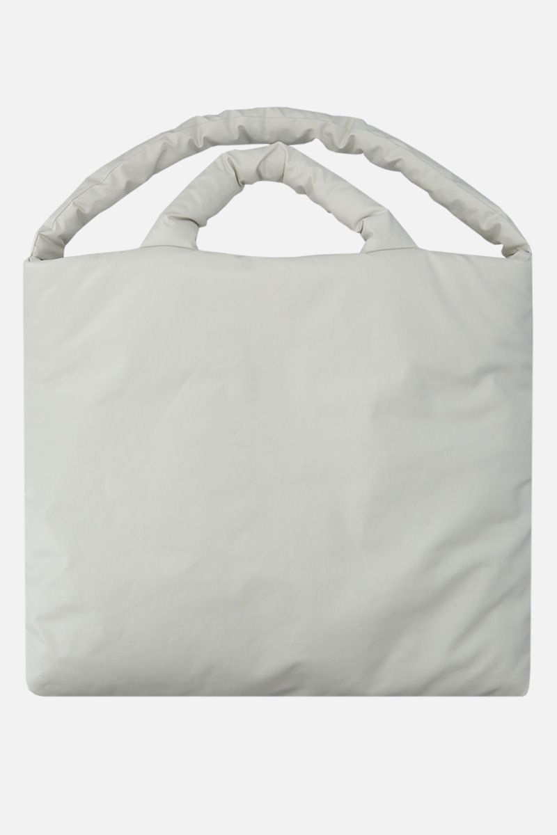 KASSL EDITIONS: Oil large padded handbag in coated canvas Color White_1