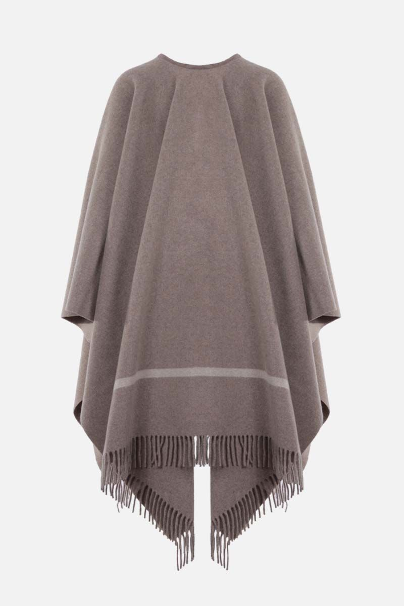 LORO PIANA: Twelve fringed cashmere cape Color Neutral_2