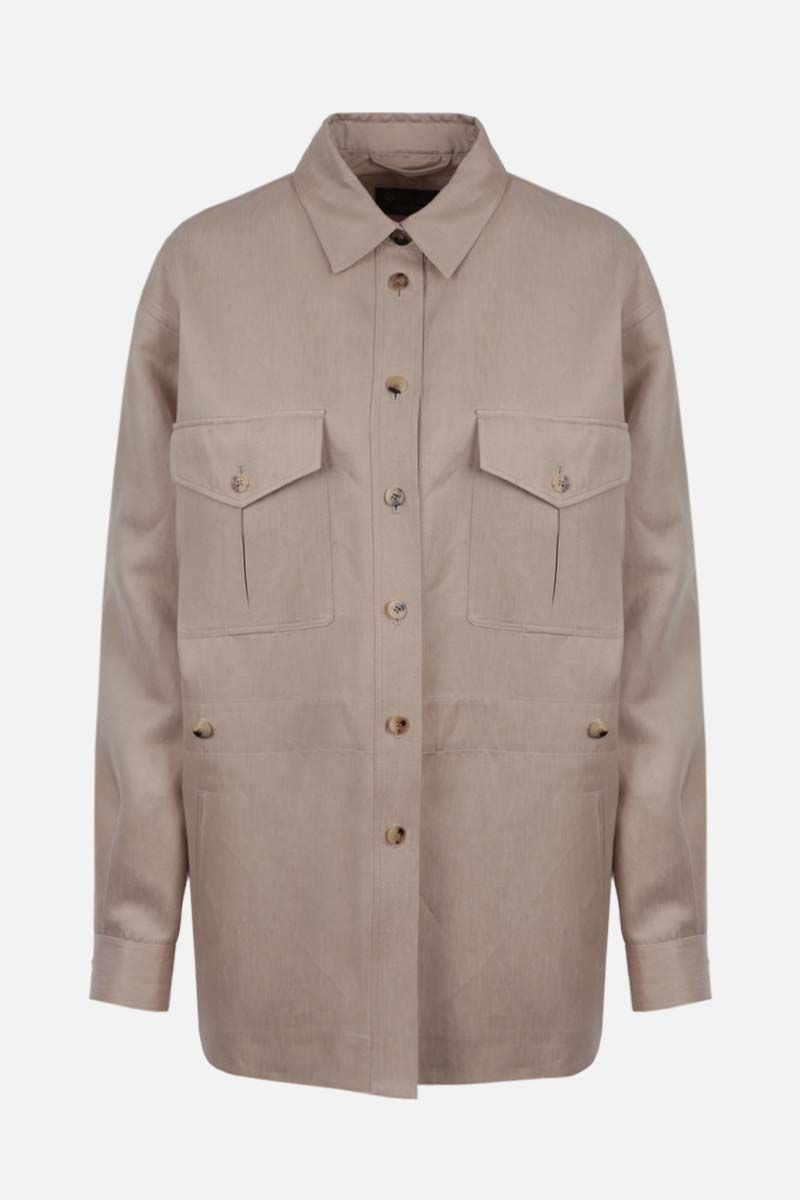 LORO PIANA: Stacy linen field jacket Color Neutral_1