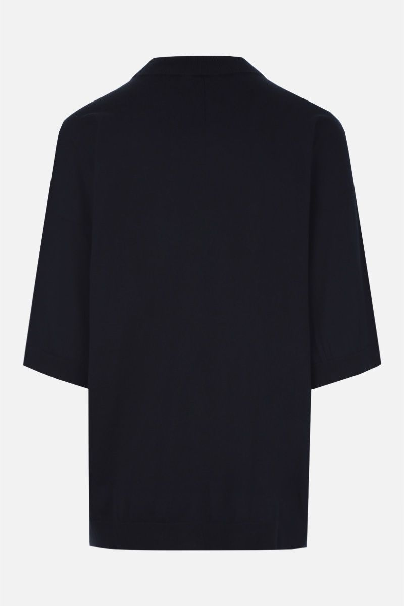 MAISON FLANEUR: oversized short-sleeve pullover in cotton cashmere blend Color Blue_3
