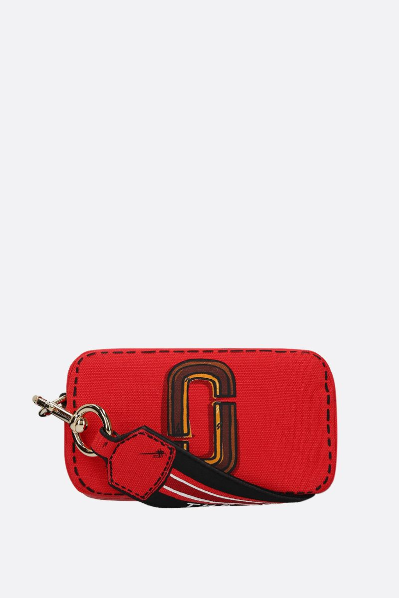 MARC JACOBS: Snapshot Trompe L'oeil crossbody bag in canvas Color Red_1