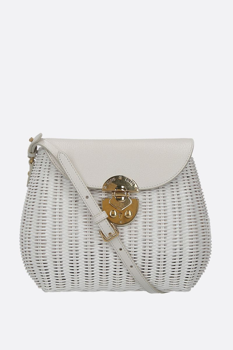 MIU MIU: wicker and grainy leather large crossbody bag Color White_1