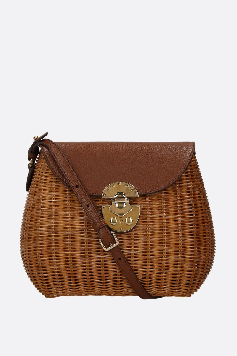 MIU MIU: wicker and grainy leather large crossbody bag Color Brown_1