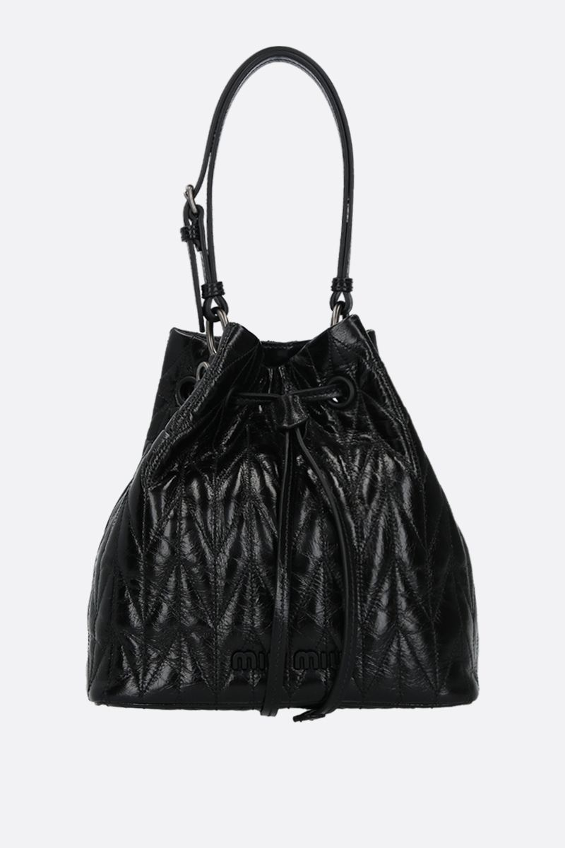 MIU MIU: quilted Shine leather bucket bag Color Black_1