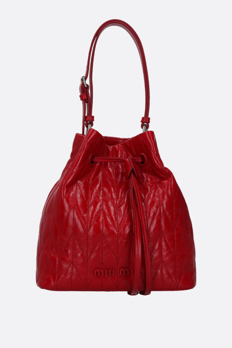 MIU MIU: quilted Shine leather bucket bag Color Red_1