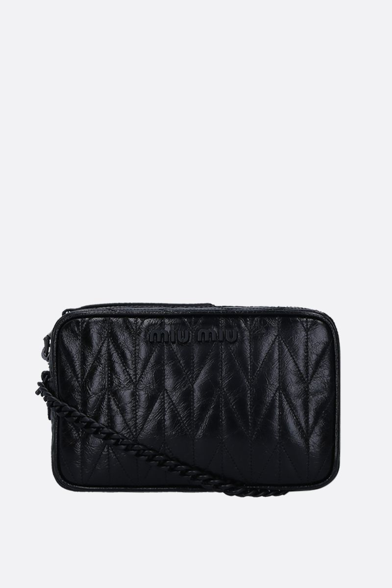 MIU MIU: quilted Shine leather crossbody bag Color Black_1