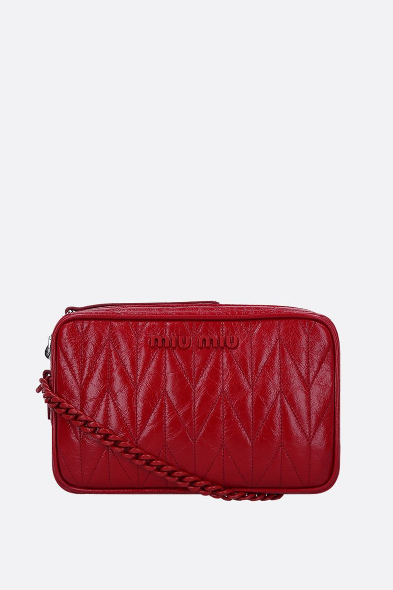 MIU MIU: quilted Shine leather crossbody bag Color Red_1
