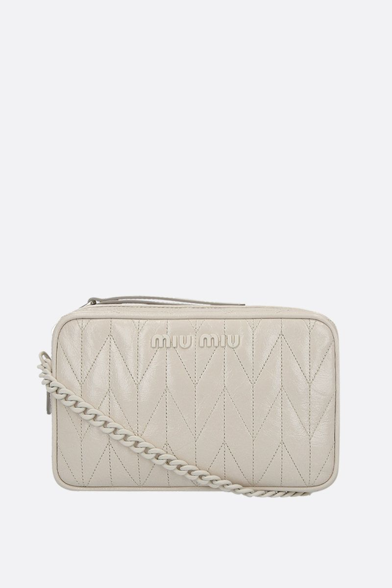 MIU MIU: quilted Shine leather crossbody bag Color White_1